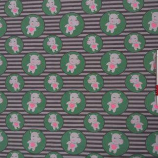 Bild Jersey Stoff mit süßen Nilpferden