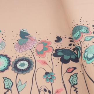 Bild Jersey Stoff Blumenwiese mit Vögeln