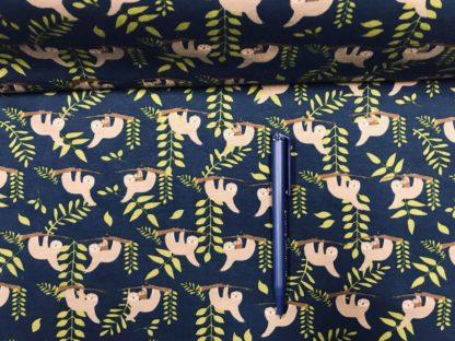 Bild Jersey Stoff Faultiere auf dunkelblau
