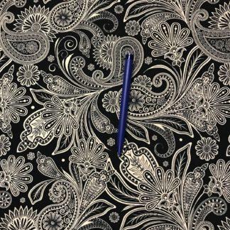 Bild Paisley Stoff schwarz weiß