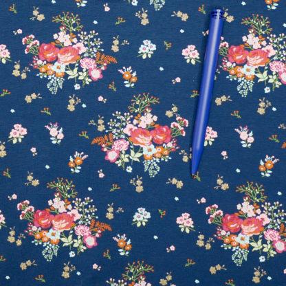 Bild Blumen auf Jersey blau