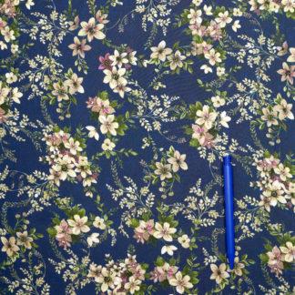 Bild Viskose florales Muster Blumen auf blau