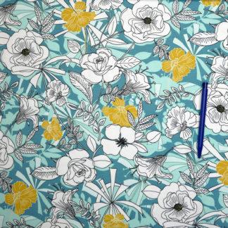 Bild Jersey Blumen auf hellblau blau
