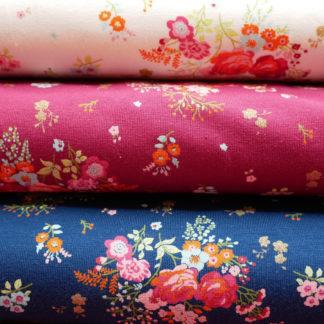 Bild Blumen auf Jersey rosa, rot, blau