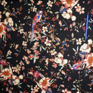 Bild Viskose Blumen mit voegeln auf schwarz, japanisch