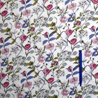 Bild Viskose zarte Blumen rosa weiss auf weiss