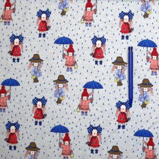 Bild Jersey Stoff Hasen im Regen mit Schirm, Mütze und Schleife