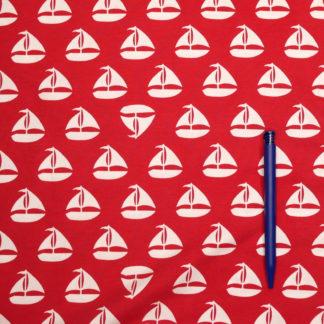 Bild Jersey Stoff weisse Segelboote auf rot