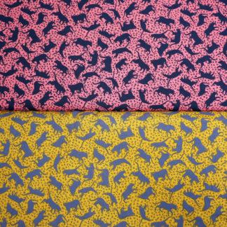 Bild Viskose Katzen auf rosa und gelb