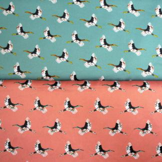 Bild Polyester Stoff Kraniche fliegend