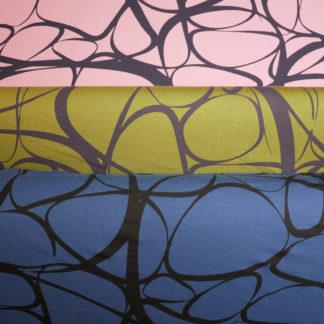 Bild Viskose Stoff mit abstrakten geschweiften Linien, rosa, gruen, blau