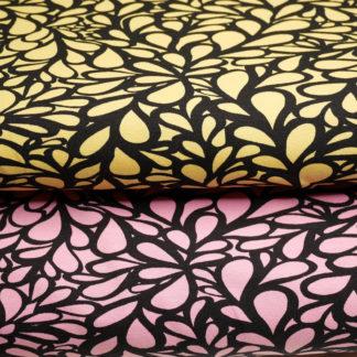 Bild Jersey Stoff abstrakt Tropfen rosa und gelb
