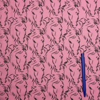 Bild Jersey Stoff Pferdekoepfe auf rosa