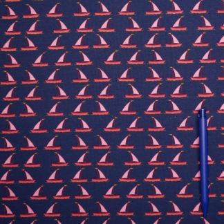 Bild Jersey Stoff Segelschiffe Boote auf blau