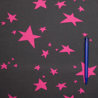 Bild Jersey Stoff Sterne pink auf schwarz