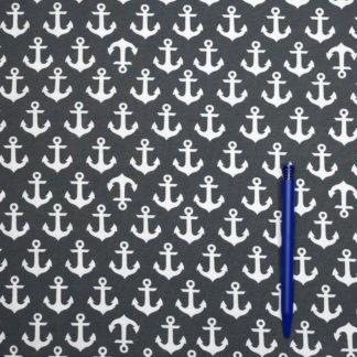 Bild Jersey Stoff weisse Anker auf dunkelblau