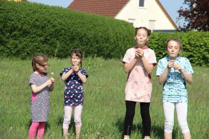 Bild Kinder mit Pusteblumen im Mädchenkleid Kinderwohli