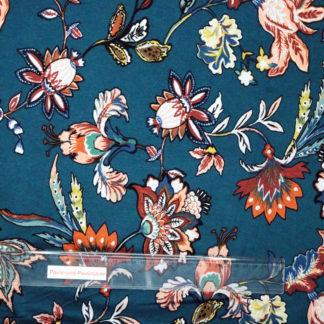 Bild Knallige Blüten auf petrol farbener Viskose