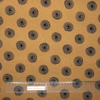 Bild Schnörkel, Kringel, Kreise in schwarz auf ocker