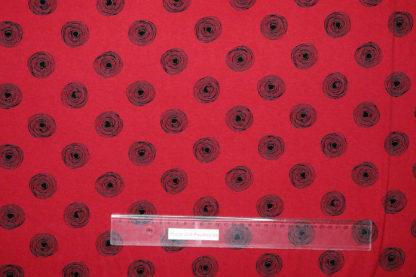 Bild Schnörkel, Kringel, Kreise in schwarz auf rot