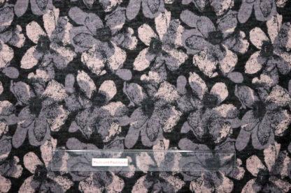 Bild Viskose Strick Druck mit großen Blumen auf dunkelgrau