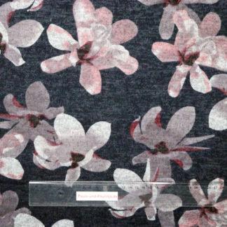 Bild Viskose Strick Druck mit großen Blumen in rosa, grau auf dunkelgrau