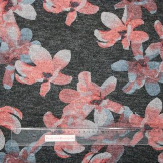 Bild Viskose Strick Druck mit großen Blumen in leuchtorange, grau auf dunkelgrau