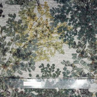 Bild Viskose Strick Druck mit zarten Gingko Zweigen auf hellgrau