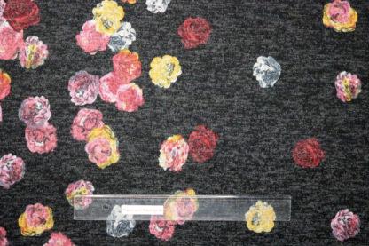 Bild Viskose Strick Druck mit verlaufenden, bunten Blüten