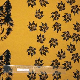 Bild French Terry freundlicher Wolf mit Kopf und Tatzen auf ocker, sand