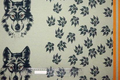 Bild French Terry freundlicher Wolf mit Kopf und Tatzen auf grün