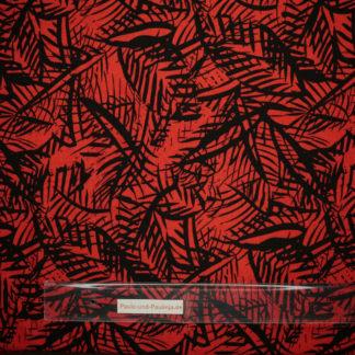 Bild Viskose Stoff in der Farbe rot mit Farnmotiv, Striche
