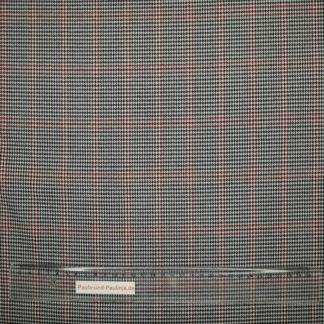 Bild Viskose Polyester mit Hahnentritt Motiv dunkelblau und roten Streifen