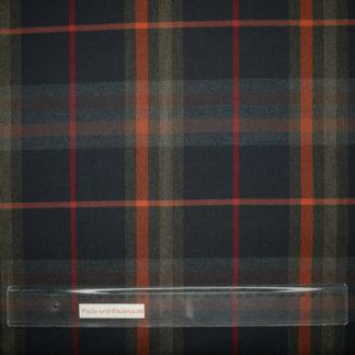 Bild Viskose Stoff kariert, dunkelblau, grau, rot