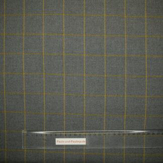 Bild Eleganter Viskose Stoff grau mit gelben Streifen