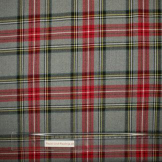 Bild karierter Viskosestoff in grau mit rot