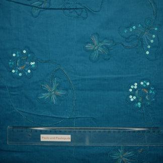 Bild glitzernder Babycord in türkis mit gestickten Blumen