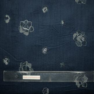 Bild Babycord mit aufgestickten Blüten in dunkelblau