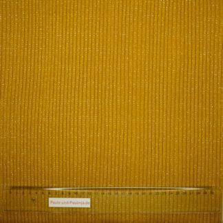 Bild Heavy Rib Bündchen Stoff in senf mit silbernen Streifen