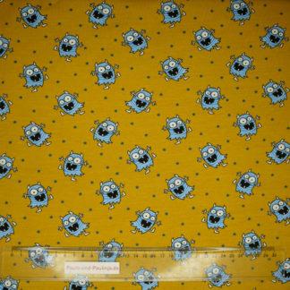 Bild Senffarbener Baumwolljersey mit Monstern und leuchtenden Augen