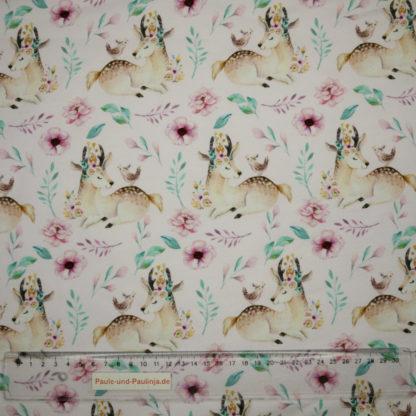 Bild Baumwolljersey mit verträumten Hirschen und Blumen