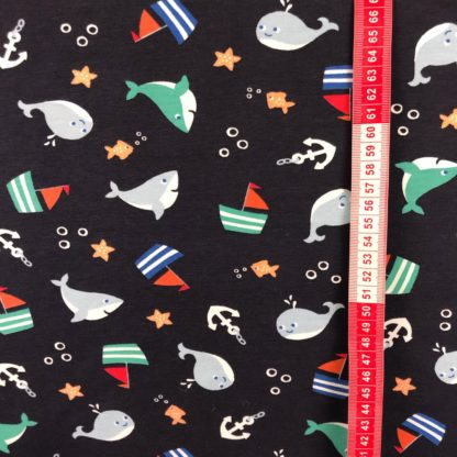 Bild segelbohte Wale Anker Sterne Fische