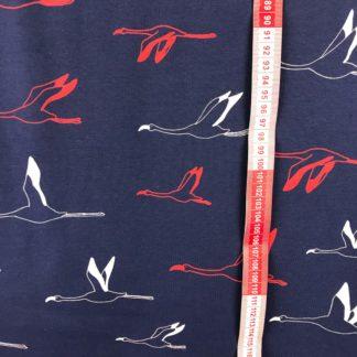 Bild fliegende Flamingos Kraniche