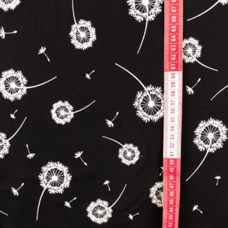 Bild Jersey Stoff mit weißen Pusteblumen auf schwarz