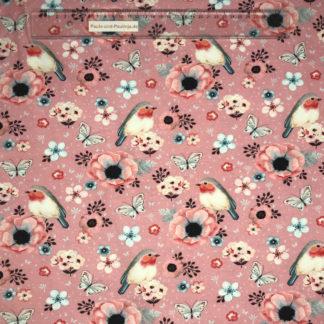 Bild Baumwolljersey Stoff in der Farbe rosarot mit Rotkehlchen, Schmetterlingen und Blüten