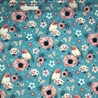 Bild Baumwolljersey Stoff in der Farbe himmelblau mit Rotkehlchen, Schmetterlingen und Blüten