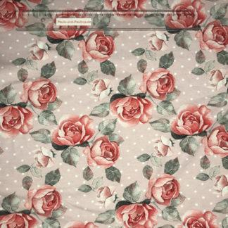 Bild Baumwolljersey Stoff in der Farbe altrosa mit Rosen und weißen Punkten