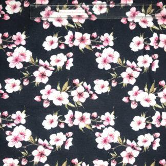 Bild Baumwolljersey Stoff in der Farbe nachtblau mit rosa Kirschblüten