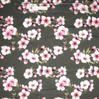Bild Baumwolljersey Stoff in der Farbe grau mit rosa Kirschblüten