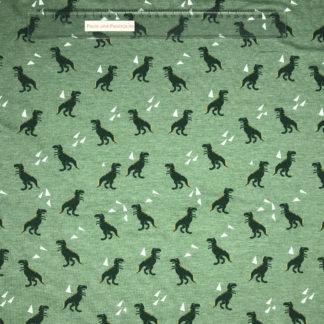 Bild Baumwolljersey Stoff in der Farbe grün meliert mit Dinos und Dreiecken